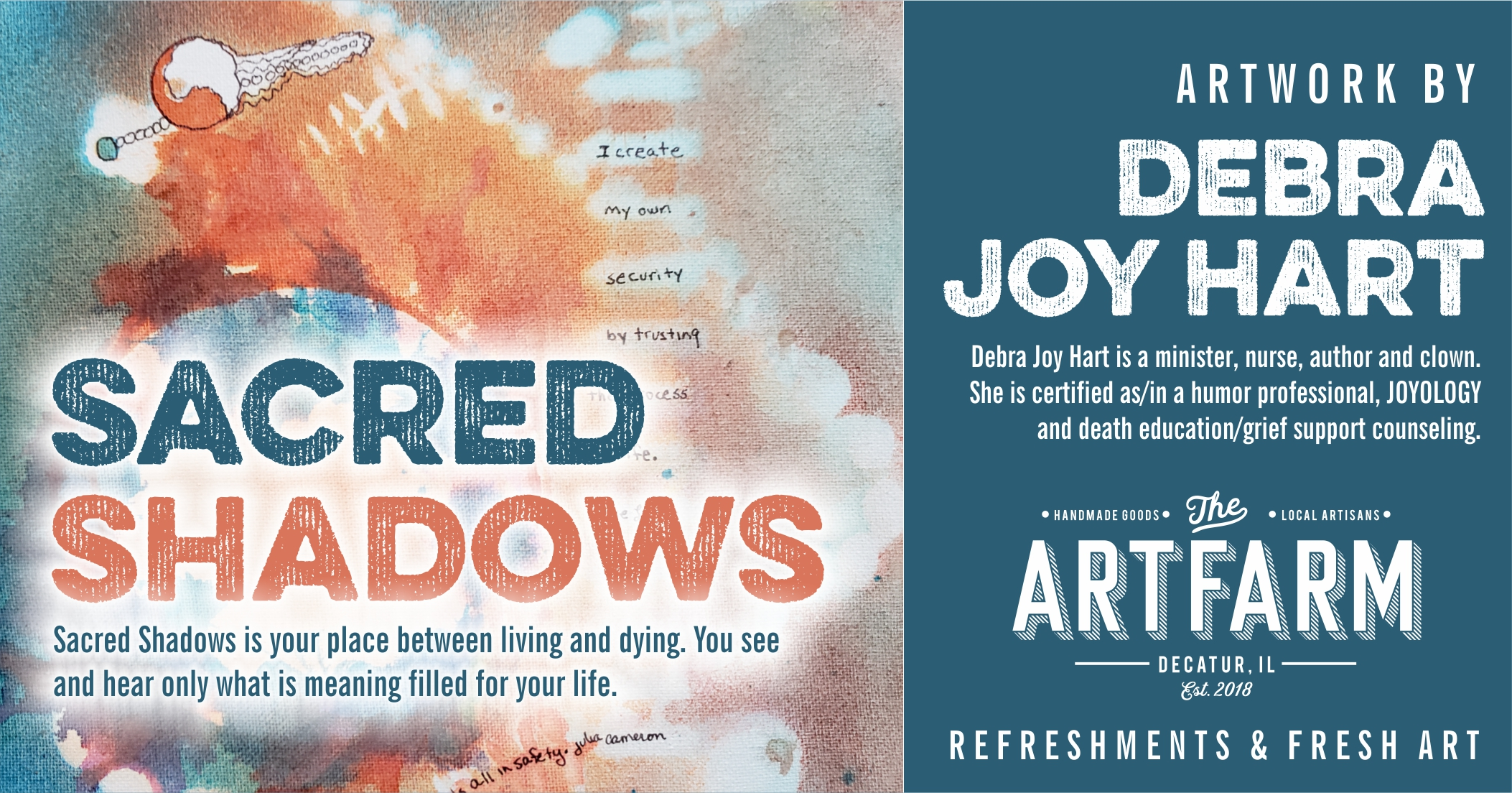 "Feb. 7 – 1st Friday Gallery Opening – Debra Joy Hart – ""Bringing Light to Sacred Shadows"""
